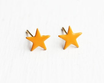 Orange Enamel Star Studs