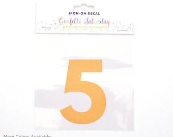 Decal 5 5th Birthday Shirt Iron On Transfer Five 5 Fifth Yellow Orange | GLITTER