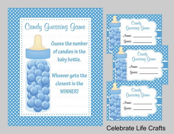 Baby Shower Candy Bottle Guessing Game Sign And Tags Baby
