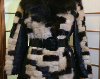 Mosaic Patchwork Black, Hazel Fur Coat-- Mink, Fox, and Leather Mod Vintage 1960's S/M Winter Holiday Coat