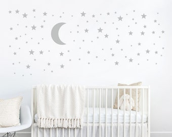 Moon and Stars Decal - Star Stickers - Kids Wall Decoration - Baby Room Decal - Nursery Wall Decal - Vinyl Stickers - Wall Decal for Nursery