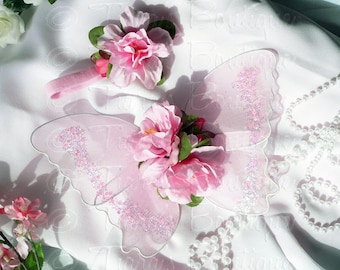 Baby Butterfly Wings and Flower Headband Set - Pink Fairy Wings - READY TO SHIP - Infant Wings - Photography Photo Prop