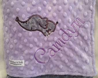 Personalized Monogrammed Elephant Crib Blanket in Lavender and Grey Minky
