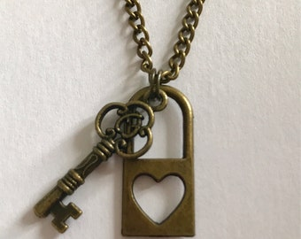 My Heart is Locked, You Are The Key Tibetan antique bronze charm necklace