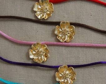 Brass Wild Rose Satin Choker- Choker, Choker Necklace, Flower, Brass, Satin Cord, Satin, Teen, Prom, Modern, Bohemian, Bridesmaids