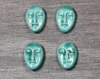 Set of Four Small Almond Ceramic Face Stone Cabochon in Seafoam