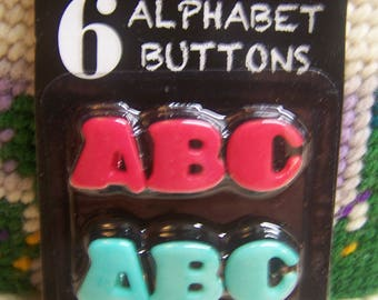 6 Alphabet Buttons ABC in Rosy Red and Aqua