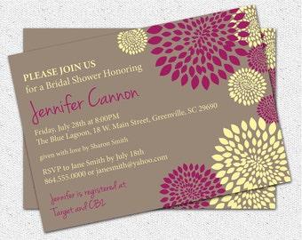 Bridal Shower or Baby Shower Invitation Printable,  Floral you pick colors, CUSTOM, Modern, DIY Digital File