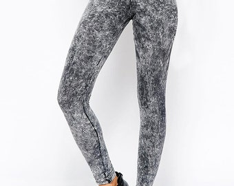 Black Acid Wash Ankle Leggings