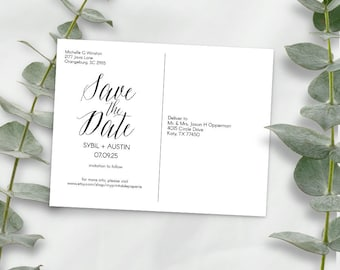 Postcard save the date, wedding save the date, postcard templates, DIY, simple wedding,inspirations, printable, save the date, post card, A2