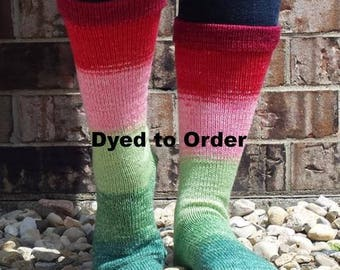 Watermelon Panoramic Gradient Matching Socks Set Yarn, dyed to order - pick your size, pick your yarn base