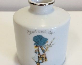 Vintage Holly Hobbie Blue Girl Vase Narrow Opening Start Day Happy Way