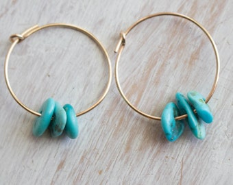 Gold Turquoise Hoops, Real Turquoise Earrings, Sleeping Beauty Turquoise, 14 kt gold, simple earrings for women