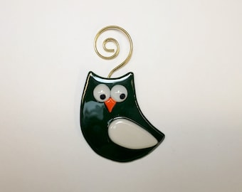 Fused Glass Green & White Owl Tree Ornament