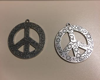 Peace sign pendant etsy large peace sign pendant 45mm audiocablefo