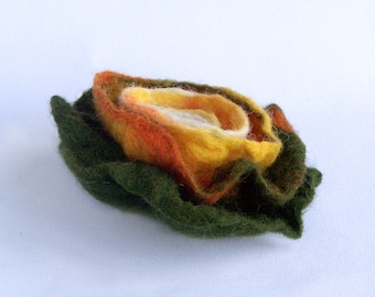 Orange flower brooch, hand felted from natural wool, rustic soft multicolor green orange floral pin