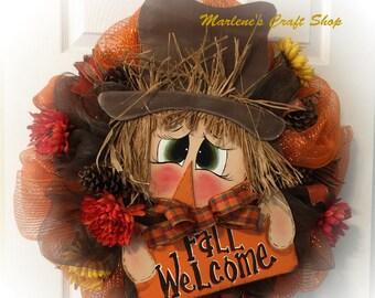 Scarecrow Wreath,Fall Wreath,Scarecrow Hat Wreath, THANKSGIVING, Scarecrow Wreath, Fall Wreath, Scarecrow Autumn Wreath Scarecrow Decoration