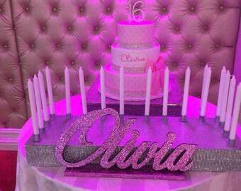 Sweet 16 candelabra name large-Custom wood name, Nursery, birthday, centerpiece