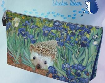 Hedgehog Art Make-up Bag • Monet Irises With Hedgehog • Van Gogh Starry Night Post Impressionist Hedgehog Art • Hedgehog Art by Urchin Wear
