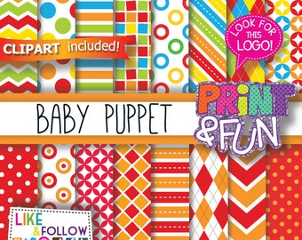 Baby Puppets, Digital Paper, Patterns, Backgrounds, Clip art, Clipart, Red, orange, blue, yellow, green, chevron, stripes, polka dots