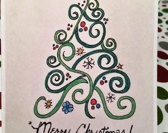 Whimsical Christmas Tree, Merry Christmas, Holiday Tree, Green