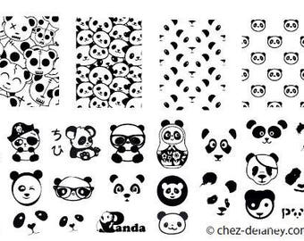 panda - stamping nail art plate by DELANEY
