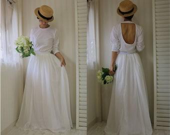 long sleeve wedding dress open back,2 piece wedding dress,handmade wedding dress,wedding separates,simple wedding dress,casual wedding dress