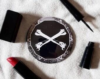 Crossbones Pocket Mirror - alternative, goth, horror, punk