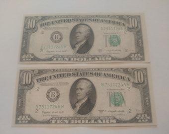1950C 10 Dollar Bills Consecutives