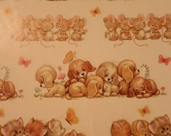 Vintage Wrapping Paper - Vintage 1 sheet Morehead Current Cute Animals Wrapping Paper Sheet - approx. 24 x 30