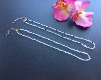 Semi-Knotted Petite Natural Clear Double Terminated Diamond Quartz Beaded Necklace