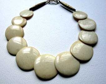 Necklace with bone disc beads from Kenia
