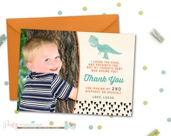 Dinosaur Thank You Card, Birthday Thank You Card, Watercolor Dinosaur Thank You Card, Thank You Card with Photo, Photo Thank You Card