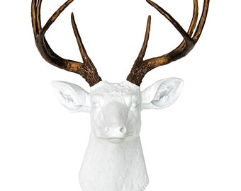 Deer Head Wall Mount In White And Bronze   Faux Taxidermy Deer Head   Fake  Stag