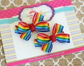 Rainbow Pigtail Set - Pigtail Hair Bow Set - Piggy Sets - Toddler Hair Bows - Girls Hair Bows - Back to School Hair Bows - 2 Inch Hair Bows