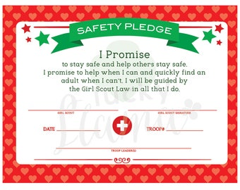 Girl Scout Safety Pledge Certificate