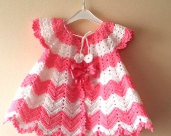 CROCHET PATTERN Baby Girl, Infant Crochet Dress Pattern, Baby Girl Christmas dress Baby Shower, Handmade Crochet Chevron Dress, 0-9 Months