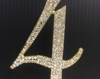 Rhinestone Gold  NUMBER (4) Cake Topper 4th Birthday Parties FREE SHIPPING