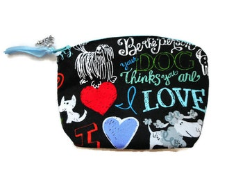 Dog Lover Gift/Small Dog Coin Purse/Dog Change Purse/Dog Zipper Bag/Dog Zipper Purse/Dog Bag/Love my dog/Cotton Purse/made in France