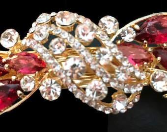 New Gold With Clear Crystal & Red Ruby Cluster 3 1/2'' Hair Barrette