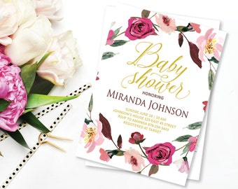 Floral Baby Shower Invitation, Pink Flower Baby Shower Invite, Flowers Wreath Shower, Boho Chic Baby Shower, Watercolor Baby Shower Invite