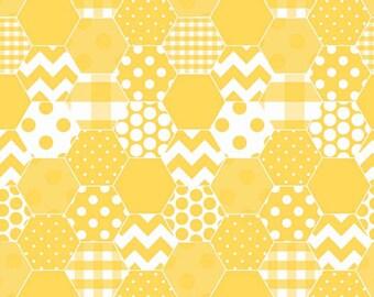 Yellow & White Hexagon Fabric, Riley Blake C770-50 Hexi Yellow, Quilt Fabric, Dots, Chevron, Checks, Hexagon Print Cotton Fabric, Honeycomb