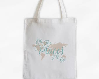 World traveler bag etsy world map oh the places ill go cotton canvas tote bag custom travel bag in robins egg blue and cream 3014 gumiabroncs Images