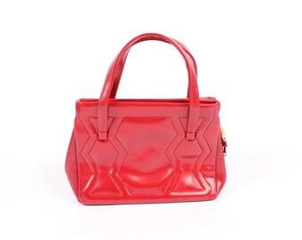 60s 70s Red Vinyl Purse Handbag Geometric Design Quilted Pattern Vintage 1960s 1970s Bag Tote