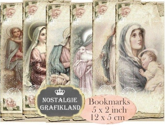 Madonna & Child Bookmarks Instant Download digital collage sheet Vintage Paper E097 Holy Mary