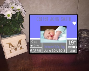 Welcome Baby Boy Custom Personalized Frame/ Baby Boy Announcement