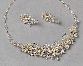 Gold Floral Jewelry Set, Gold Bridal Jewelry Set, Crystal Jewelry Set, Rhinestone Jewelry Set, Bridal Jewelry, Wedding Jewelry ~JS-1668-G