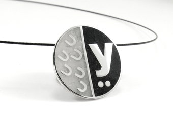 Initial Pendant, Sterling Silver, Personalized, Custom, Initial, Necklace, Black, White, Modern, Contemporary
