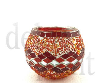 Oriental Asian Turkish Handmade interior light glass tea light holder mosaic