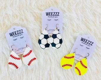 Baseball Softball Soccer Leather Earrings